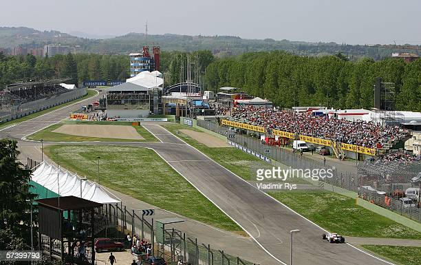 General overview of the entrance to pit lane is seen during qualifying for the San Marino Formula One Grand Prix at San Marino Circuit on April 22 in...