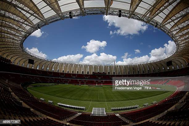 A general overview of the Estadio BeiraRio during the 2014 FIFA World Cup Host City Tour on February 17 2014 in Porto Alegre Brazil