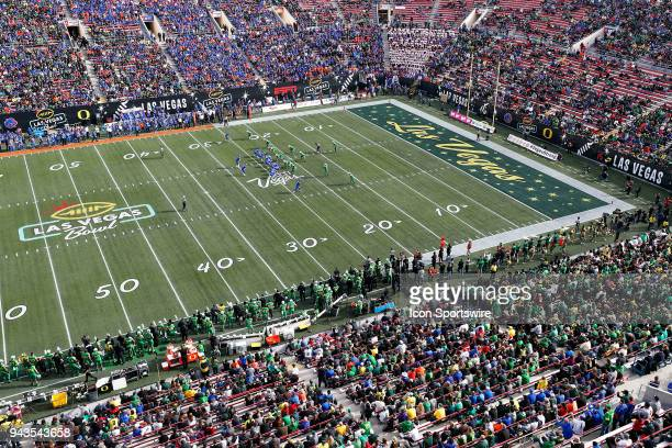 General overview of the fans in the stands during the Las Vegas Bowl featuring the Oregon Ducks and Boise State Broncos on December 16, 2017 at Sam...