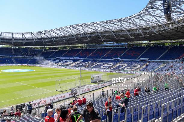 general overview of the HDI Arena before the Bundesliga game between Hannover 96 and Hertha BSC at HDI Arena on May 5 2018 in Hannover Germany