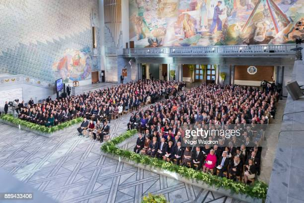 A general overview of the Nobel Peace Price Ceremony at the Oslo City Hall on December 10 2017 in Oslo Norway
