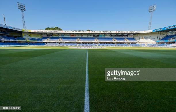 General overview of the stadium prior to the Danish Superliga match between Randers FC and Brondby IF at BioNutria Park on July 16 2018 in Randers...