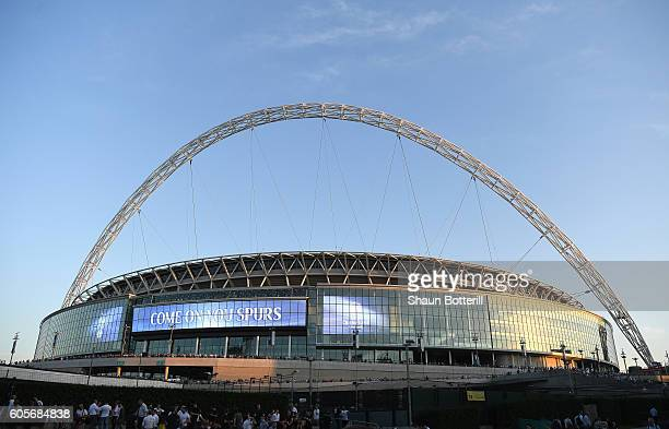 A general overview of the stadium prior to the UEFA Champions League match between Tottenham Hotspur FC and AS Monaco FC at Wembley Stadium on...
