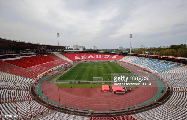 General overview of the stadium prior to the UEFA Euro 2020 qualifier between Serbia and Portugal at Stadion Crvena Zvezda on September 7, 2019 in...