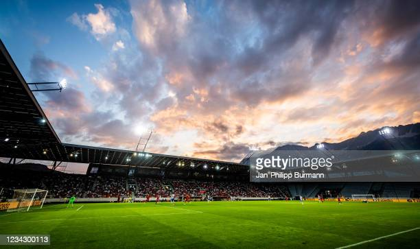 General overview of the Tivoli Stadion during the friendly match between Hertha BSC and FC Liverpool at Tivoli Stadion on July 29, 2021 in Innsbruck,...