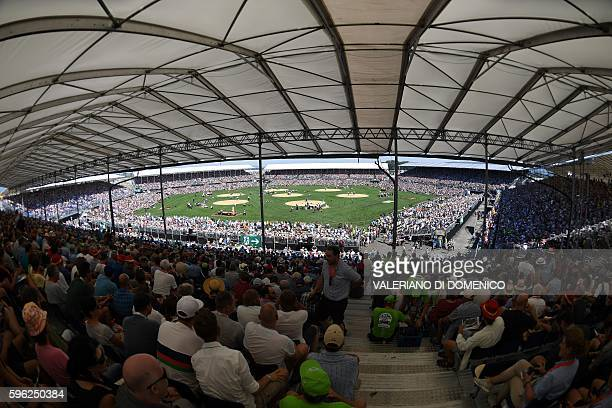 General overview of the Wrestling Arena during the first day of the Federal Alpine Wrestling Festival on August 27 2016 in Payerne western...