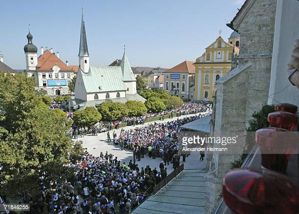 A general overview shows Pope Benedict XVI leading an openair mass in the historic pilgrimage destination of Altoetting on the third day of his six...