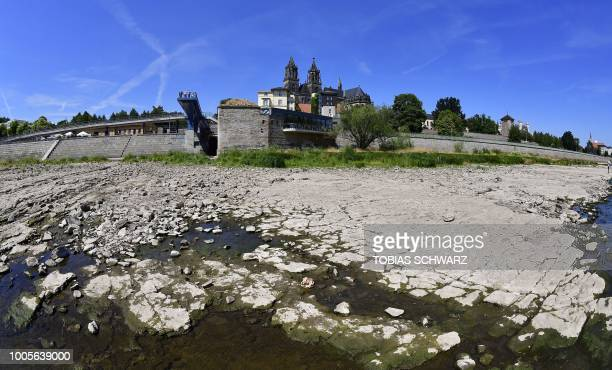 A general overview shows the dried out riverbank of Elbe in Magdeburg eastern Germany on July 26 2018 Dozens of wildfires have hit countries across...