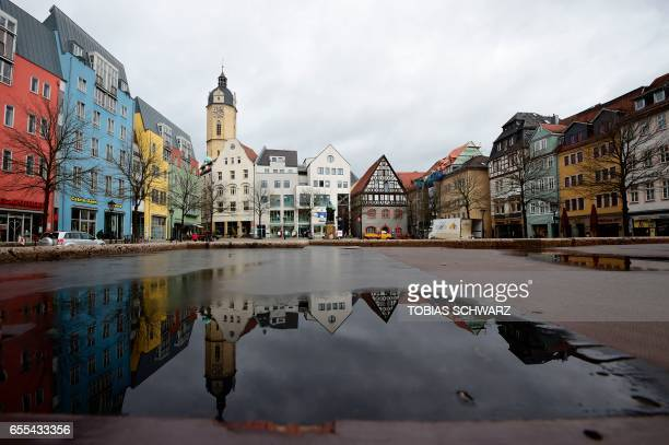 A general overview shows the main square of Jena eastern Germany on March 6 2017 Jena its researchers its hightech companies and its flourishing...