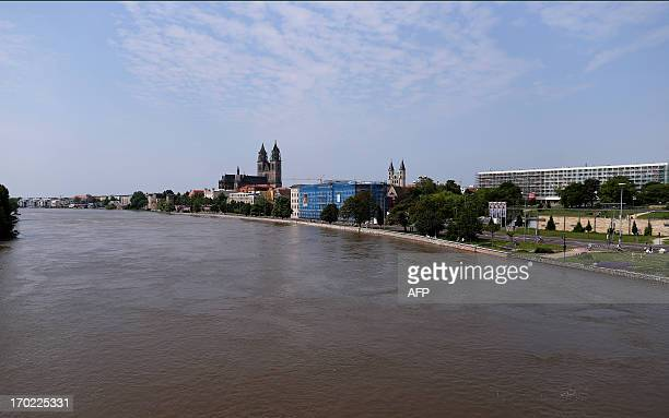 A general overview shows the river Elbe and the landmark Dom zu Magdeburg St Mauritius und Katharina in Magdeburg eastern Germany on June 9 2013...