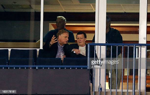 General Partner Hank Steinbrenner of the New York Yankees talks with team president Randy Levine during a Grapefruit League Spring Training Game...