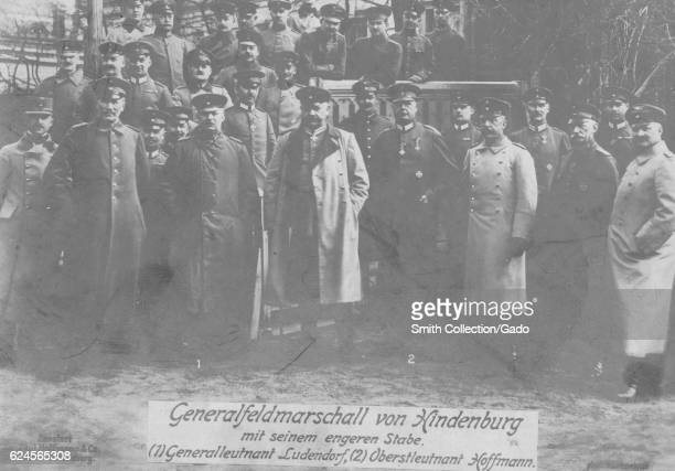 General Paul von Hindenburg with his staff during World War 1 Germany 1918 From the New York Public Library