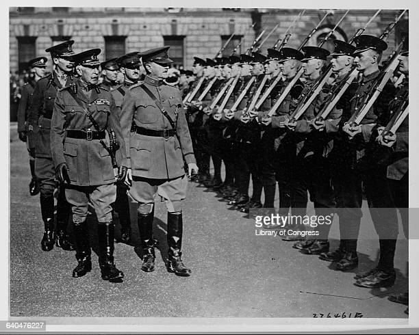 General Pershing and the Duke of Connaught inspect the British Honor Guard outside Westminster Abbey Pershing is in London to decorate the British...