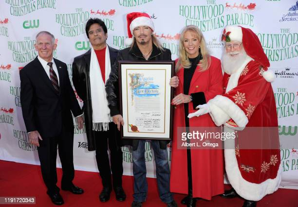 General Pete Osman Erik Estrada Bret Michaels Laura Mckenzie and Santa Claus arrive for the 88th Annual Hollywood Christmas Parade held on December 1...