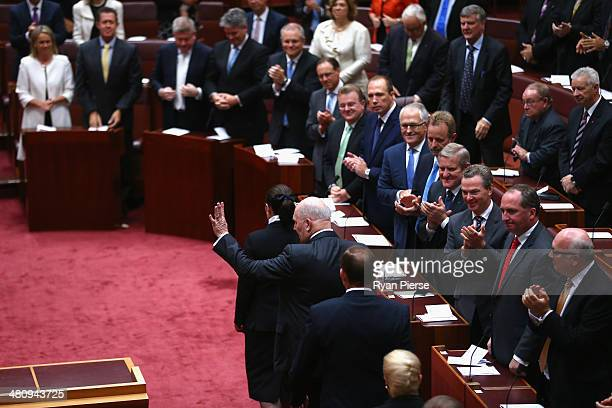General Peter Cosgrove leaves the Senate after being sworn in as Australia's GovernorGeneral at Parliament House on March 28 2014 in Canberra...