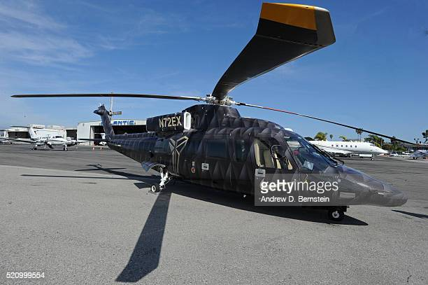 A general photo of the helicopter Kobe Bryant of the Los Angeles Lakers took to his last game against the Utah Jazz on April 13 2016 at Staples...