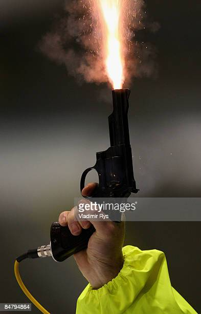 A general picture of a starting gun is seen during the Essent ISU speed skating World Cup at the Thialf Stadium on February 14 2009 in Heerenveen...