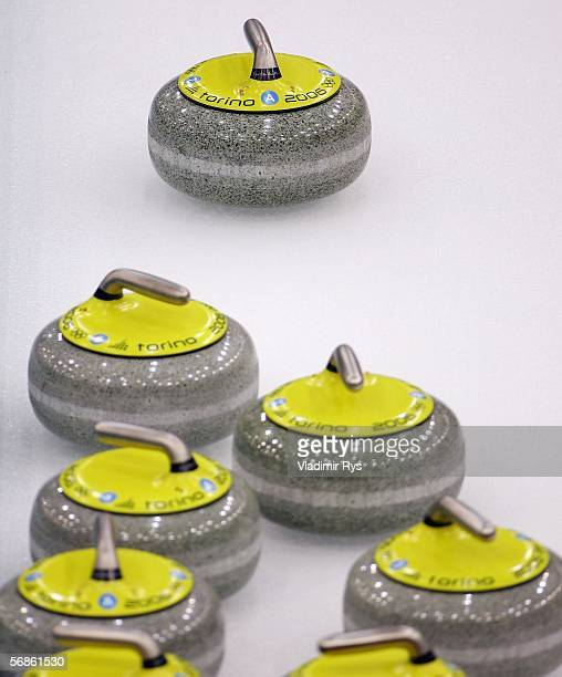 General picture of curling stones on the ice during the preliminary round of the women's curling between Canada and Switzerland during Day 6 of the...