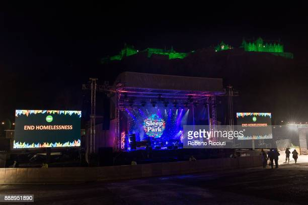 General picture of the Edinburgh Castle with the stage of Sleep In The Park a Mass Sleepout organised by Scottish social enterprise Social Bite to...