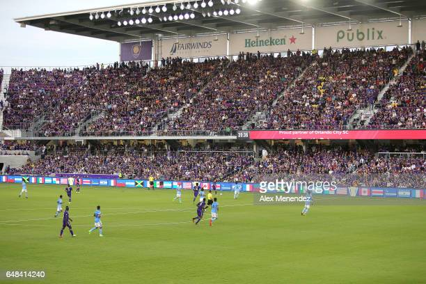 A general pitch overview during a MLS soccer match between New York City FC and Orlando City SC at the Orlando City Stadium on March 5 2017 in...