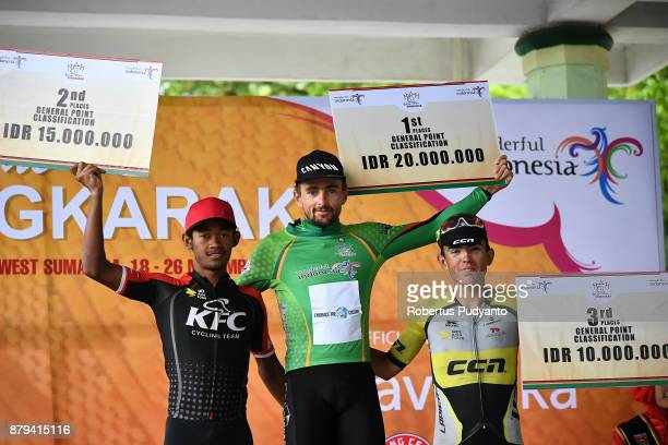 General Point Classification winners silver medalist Muhammad Imam Arifin of KFC Cycling Team Indonesia gold medalist Robert Muller of ETW Embrace...