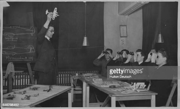 General Post Office employees training to become enemy aircraft spotters ca 1941