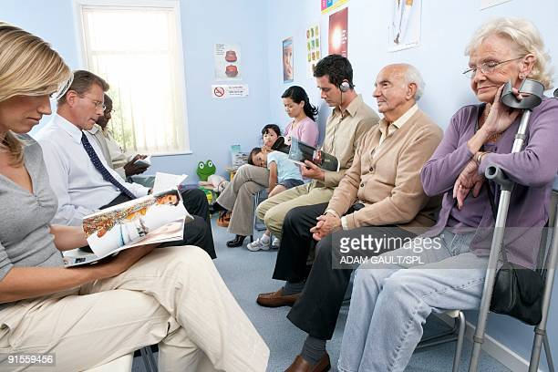 General practice waiting room filled with patients