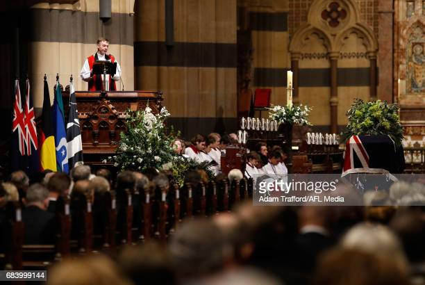 General proceedings during the former Collingwood legend Lou Richards state funeral at St Paul's Cathedral on May 17 2017 in Melbourne Australia