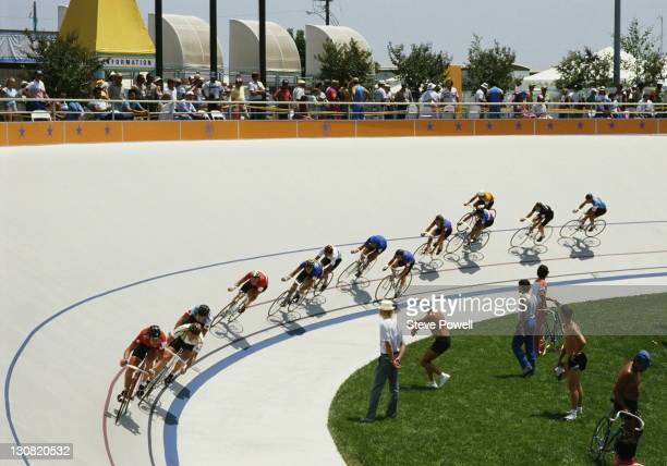 General race action from the Men's Points Raceon 3rd August 1984 during the XXIII Olympic Summer Games at the Olympic Velodrome at California State...