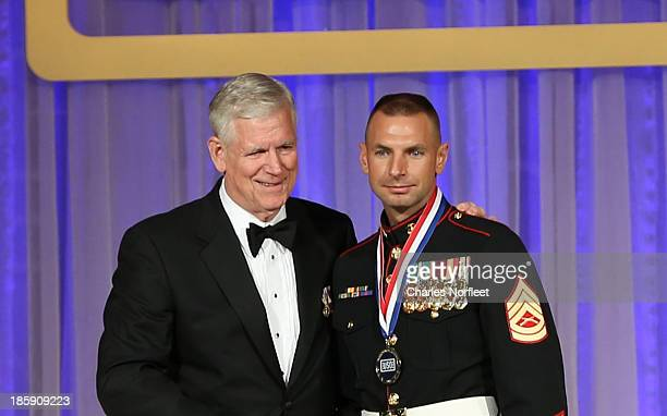General Richard B Myers US Air Force Chairman USO Board of Governors 15th Chairman of the Joint Chiefs of Staff and Gunnery Sergeant Jeremiah Johnson...
