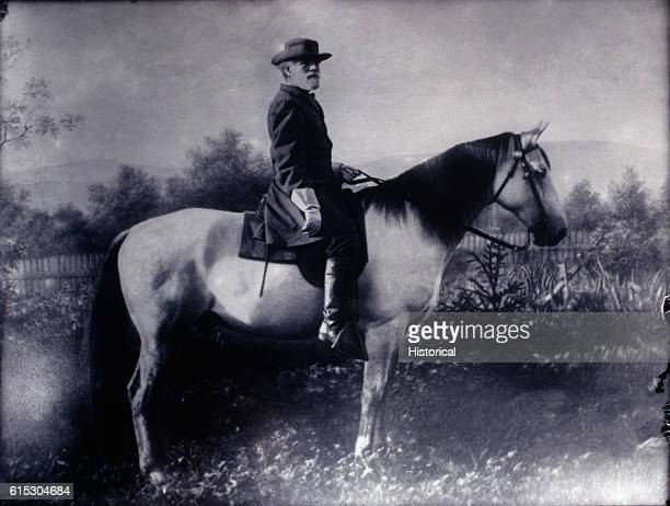 General Robert E Lee poses atop his horse Traveler after the end of the American Civil War