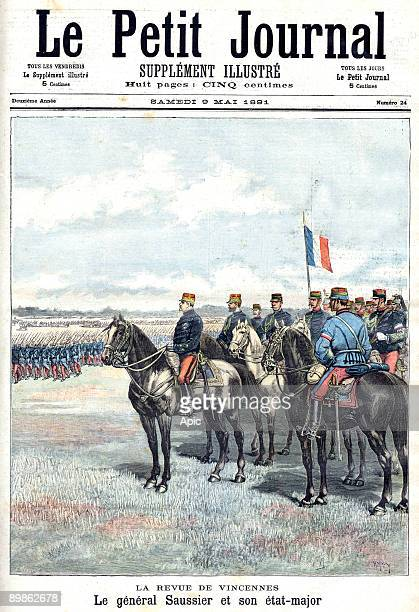 general Saussier during military parade in Vincennes frontpage of french newspaper Petit Journal may 09 1891