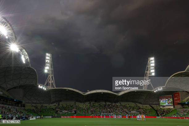General scene of AAMI Park as a storm roll on over gear during Round 8 of the Hyundai ALeague Series between Melbourne City and the Perth Glory on...