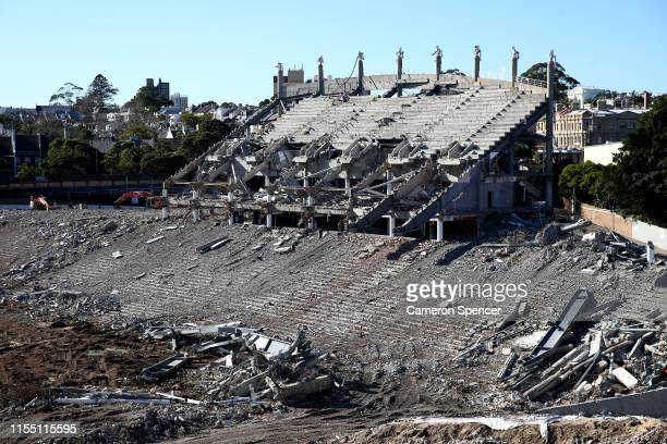 General scene of the demolition underway of Allianz Stadium at Moore Park on June 10, 2019 in Sydney, Australia. The stadium is currently being...