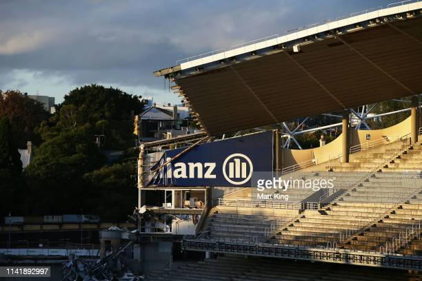 General scene of the demolition underway of Allianz Stadium on April 11, 2019 in Sydney, Australia. The stadium is currently being demolished ahead...