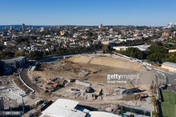 General scene of the demolition underway of Allianz Stadium on August 15, 2019 in Sydney, Australia. The stadium is currently being demolished ahead...