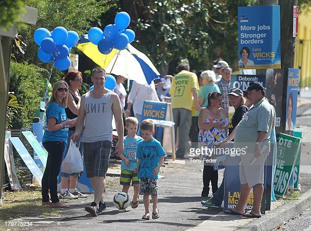 A general scene outside the Gosford East polling booth in the electorate of Robertson on election day on September 7 2013 in Gosford Australia Voters...