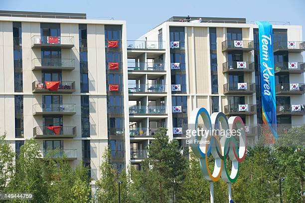 2012 Summer Olympics Exterior view of China and South Korea flags on the team's balconies at Olympic Village in Olympic Park London United Kingdom...