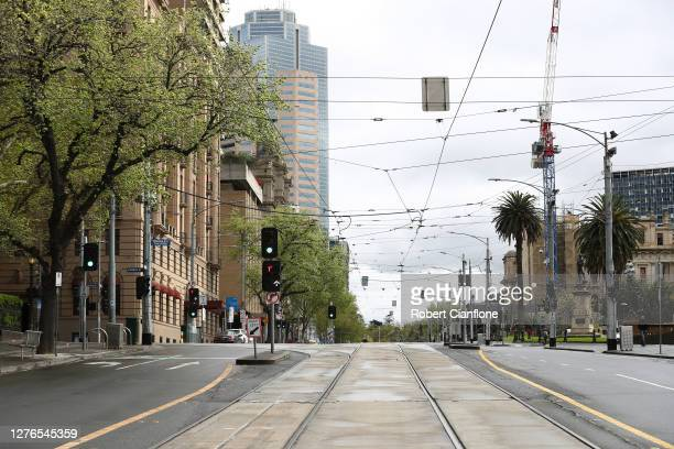 General scenes along Spring Street on September 25 2020 in Melbourne Australia Today marks the date that traditionally holds the AFL Grand Final...