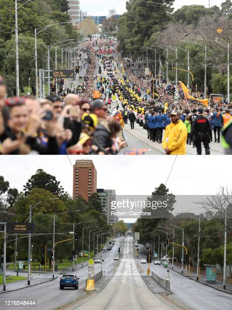 In this beforeandafter composite image **TOP IMAGE** MELBOURNE AUSTRALIA SEPTEMBER 27 A general view as fans line the parade route during the 2019...