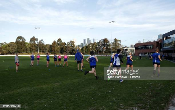 General scenes during the North Melbourne training session at Arden Street Oval on October 12, 2021 in Melbourne, Australia.