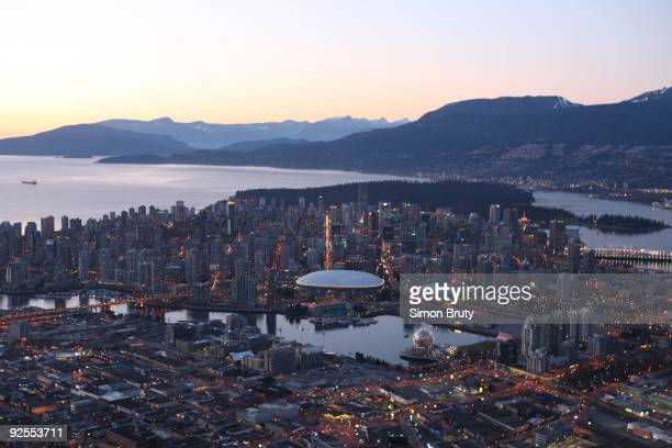 Winter Games Preview Aerial scenic view of downtown skyline and hockey Olympic venues BC Place and Canada Hockey Place Vancouver Canada 2/15/2009...