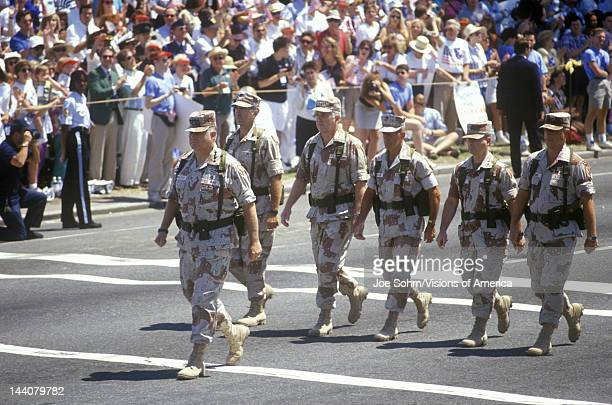 General Schwarzkopf walks at the head of the Desert Storm Victory Parade down the streets of Washington DC 1991