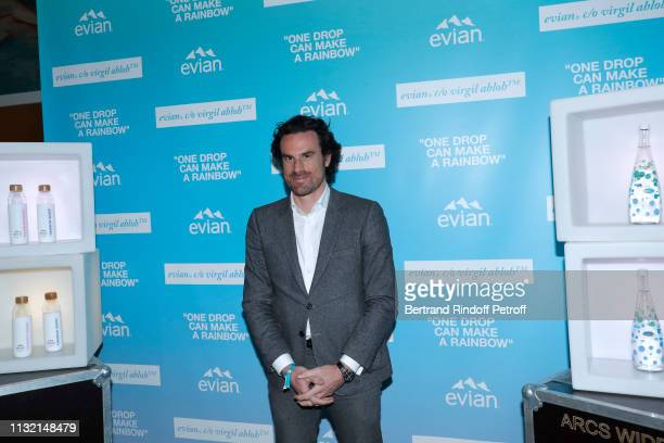 """General Secretary at Danone, Mathias Vicherat attends the launch of Evian and Virgil Abloh's limited-edition """"One Drop can make a Rainbow"""" collection..."""
