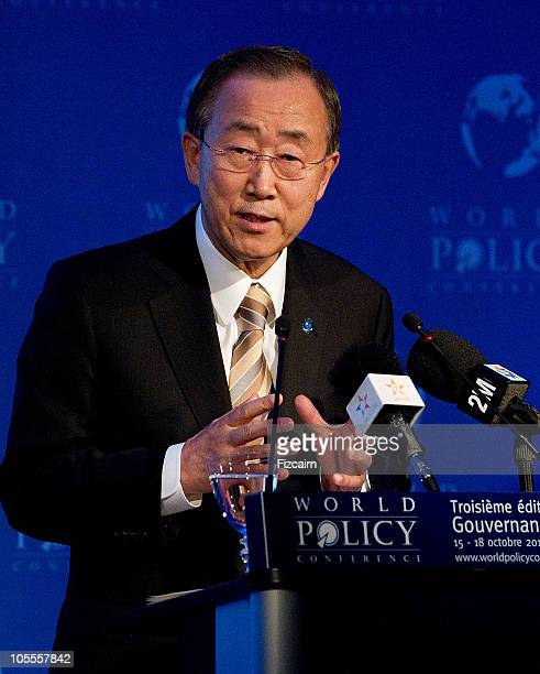 General secretary Ban Ki-Moon speaks during the opening ceremony of the third WPC on October 16, 2010 in Marrakech, Morocco. The Secretary General of...