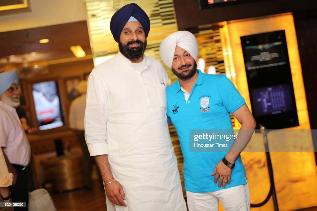 General Secretary Bikram Singh Majithia and Punjabi singer Malkit Singh during the special screening of a movie `The Black Prince` on July 24 2017 in.