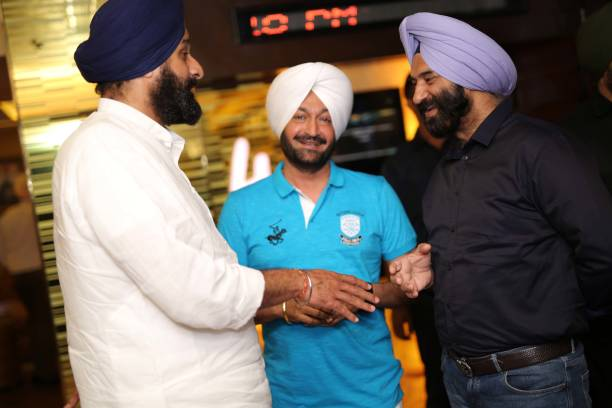 General Secretary Bikram Singh Majithia Punjabi singer Malkit Singh and BJP MLA Manjinder Singh Sirsa during the special screening of a movie `The...