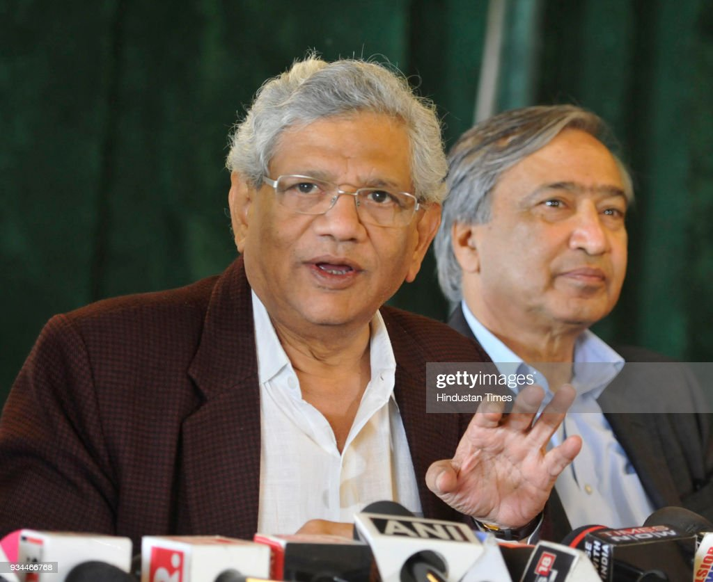 CPIM Leader Sitaram Yechury Press Conference In Srinagar