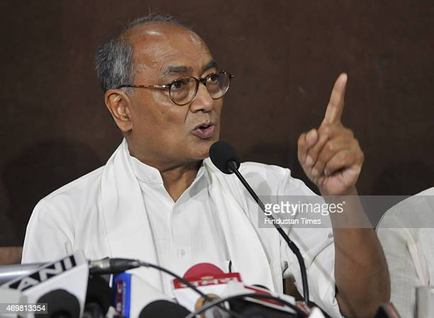 General Secretary Digvijay Singh addressing a press conference on April 15 2015 in Bhopal India Digvijay Singh expressed his disappointment over the...