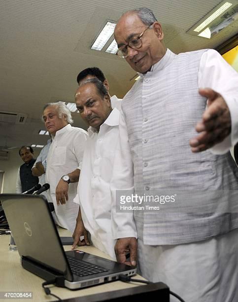 General Secretary Digvijay Singh Former Defence Minister A K Antony Senior Congress leader Jairam Ramesh and Rita Bahuguna after launching the...